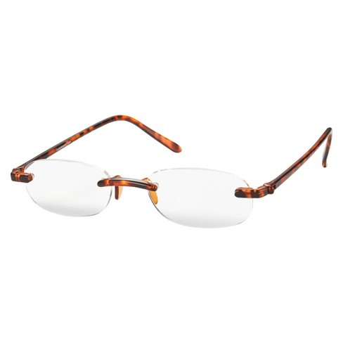 ICU Eyewear Rimless Reading Glasses with Red Case - Tortoise - image 1 of 3