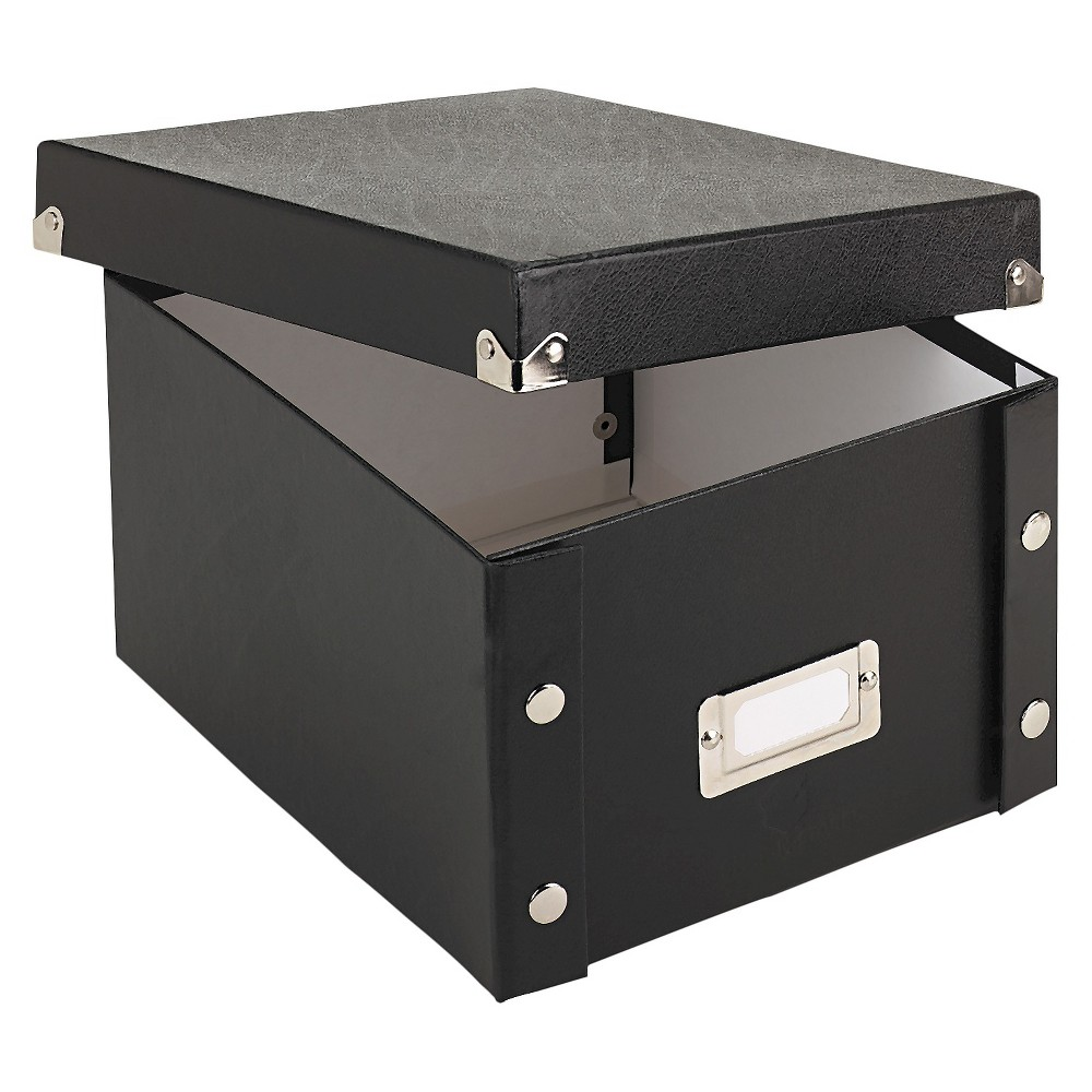 Image of Snap-N-Store Snap 'N Store Collapsible Index Card File Box Holds 1,100 5 x 8 Cards, Black