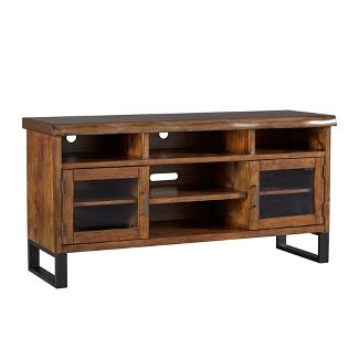 Hartwell Living Edge Rustic Industrial TV Stand - Brown - Inspire Q