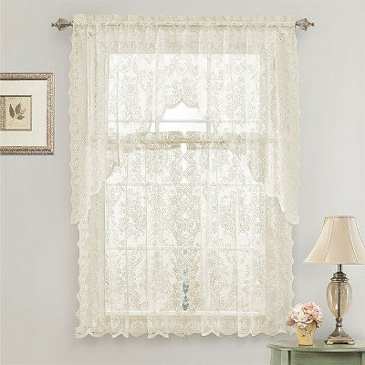 GoodGram Lena Floral Lace Complete Kitchen Curtain Tier & Swag Set