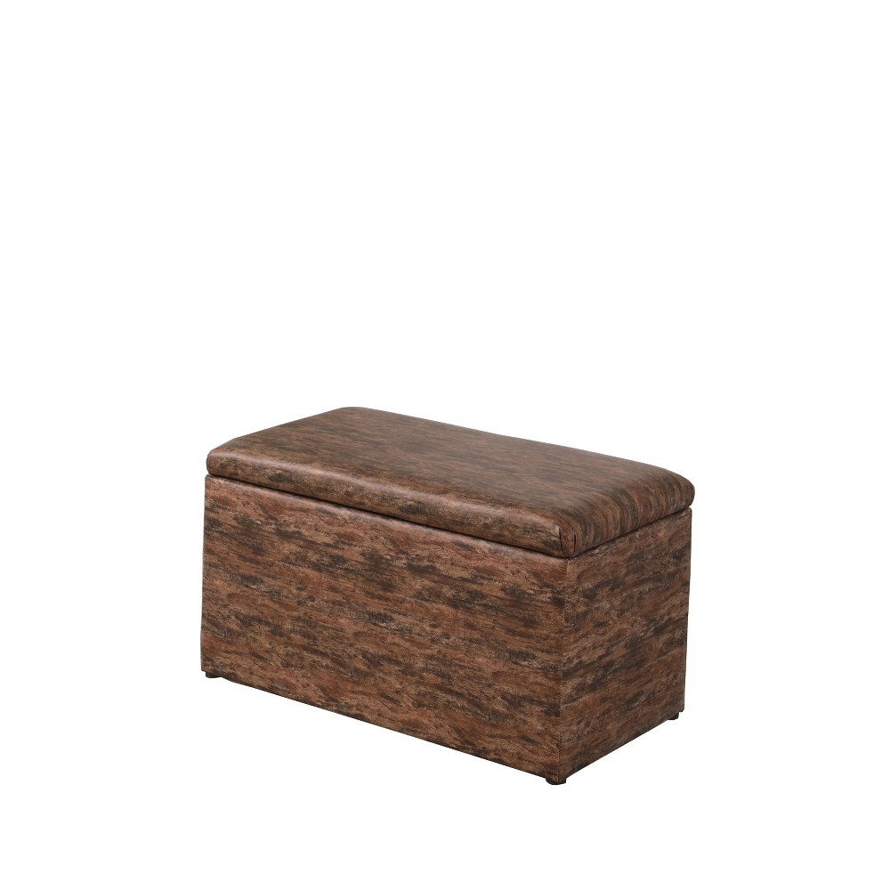 Ore International 1 Seating Storage Ottoman with Hidden Tray Brown