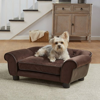 Enchanted Home Pet Ultra Plush Cleo Tufted Pet Sofa - S - Brown