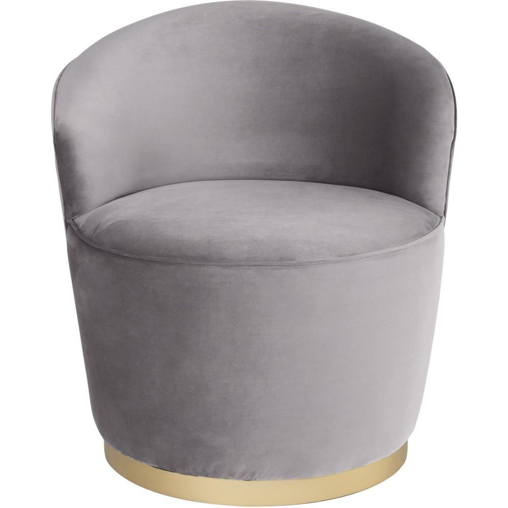 Luxe Velvet Swivel Arm Chair Gray - ZM Home