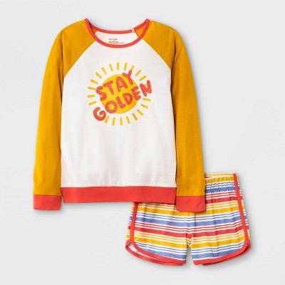 Girls' 2pc 'Stay Golden' Pajama Set - Cat & Jack™ Yellow