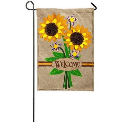 Evergreen Sunflower Bouquet Garden Burlap Flag