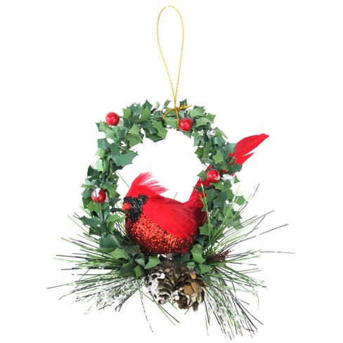 "Northlight 5.25"" Glittered Cardinal in a Holly Wreath Christmas Ornament - Red/Black - image 1 of 3"
