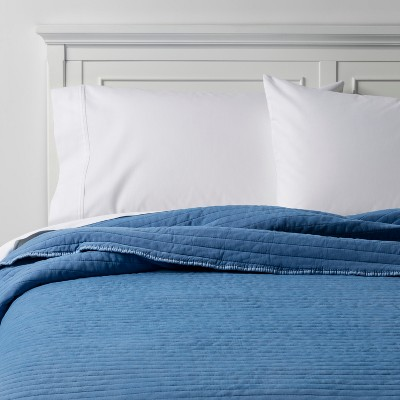 Blue Enzyme Washed Modern Channel Stitch Quilt (Full/Queen)- Project 62™