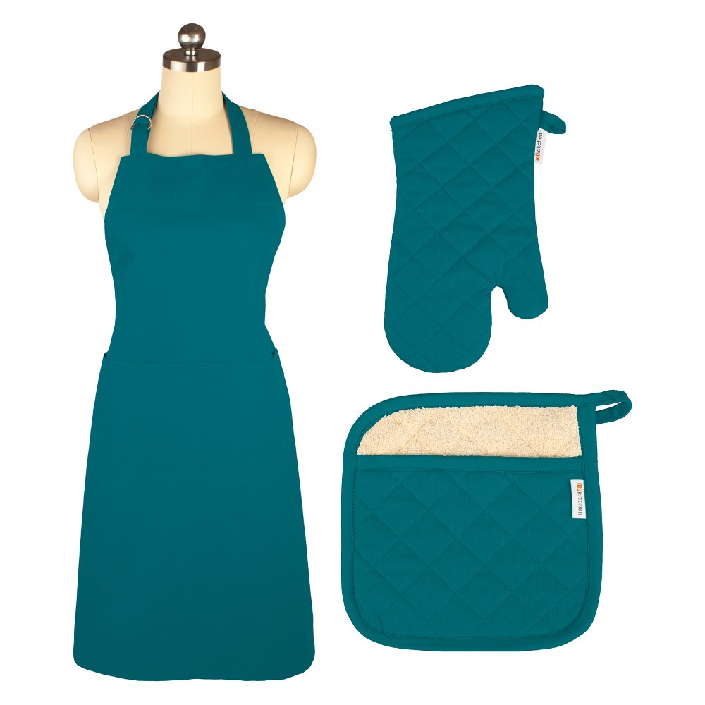 Cooking Apron/Mitt/Potholder Teal 3pc Set -Mu Kitchen, Blue