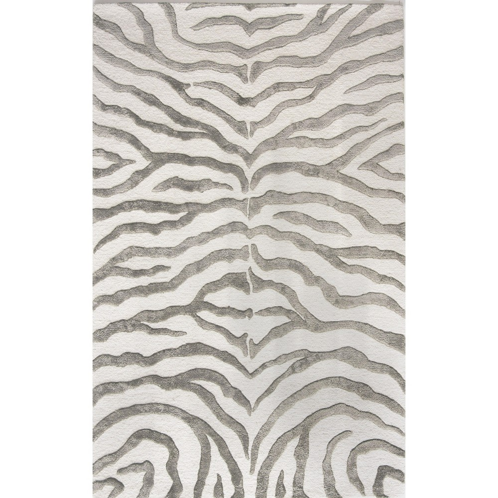 nuLOOM Hand Tufted Wool Iridescent Zebra Area Rug - Gray (7'6