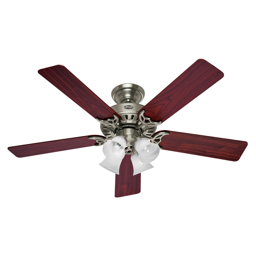 52 Studio Series Led Lighted Ceiling Fan Brushed Nickel With Reversible Cherry/Maple Blades - Hunter Fan