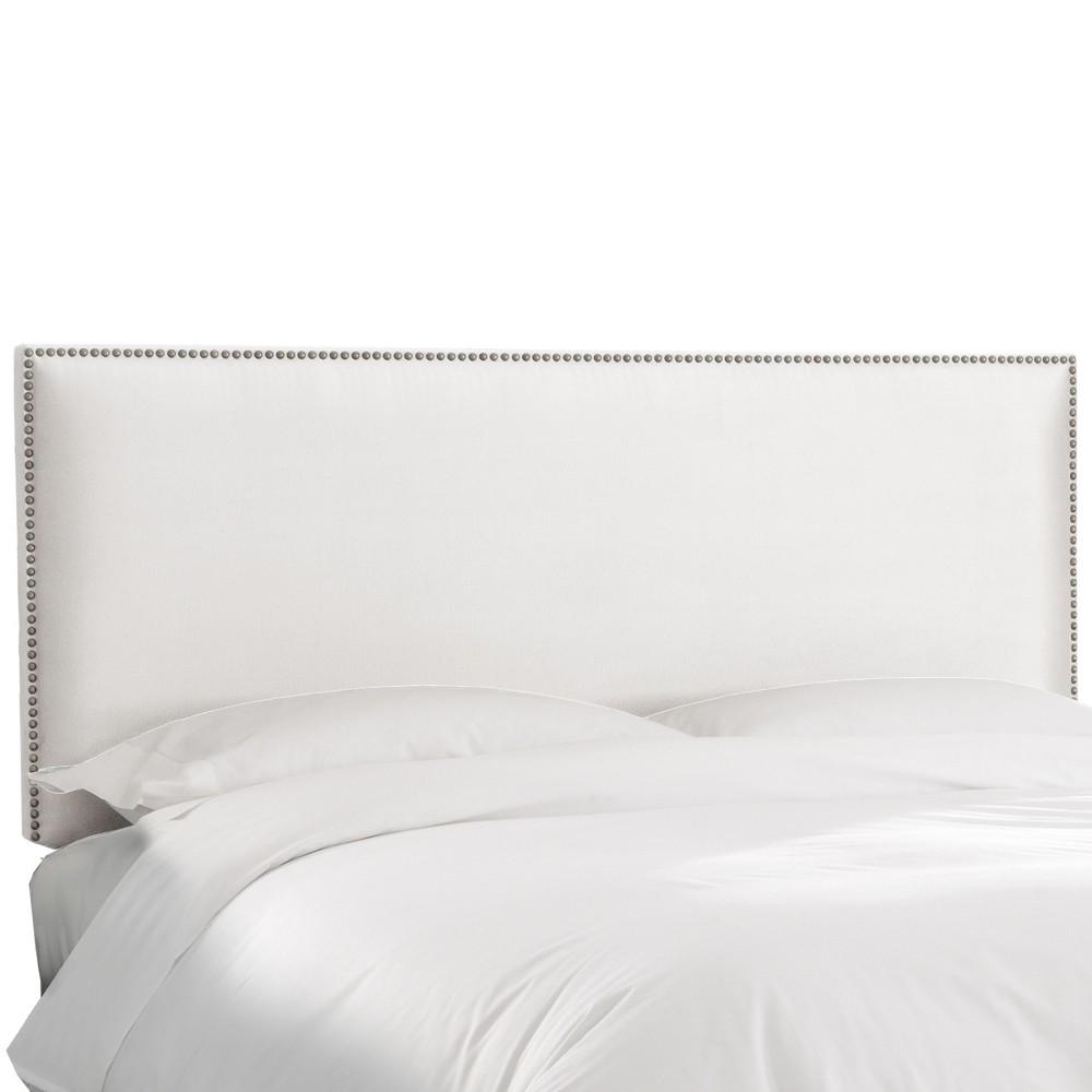 Twin Arcadia Nailbutton Microsuede Headboard Premier White - Skyline Furniture