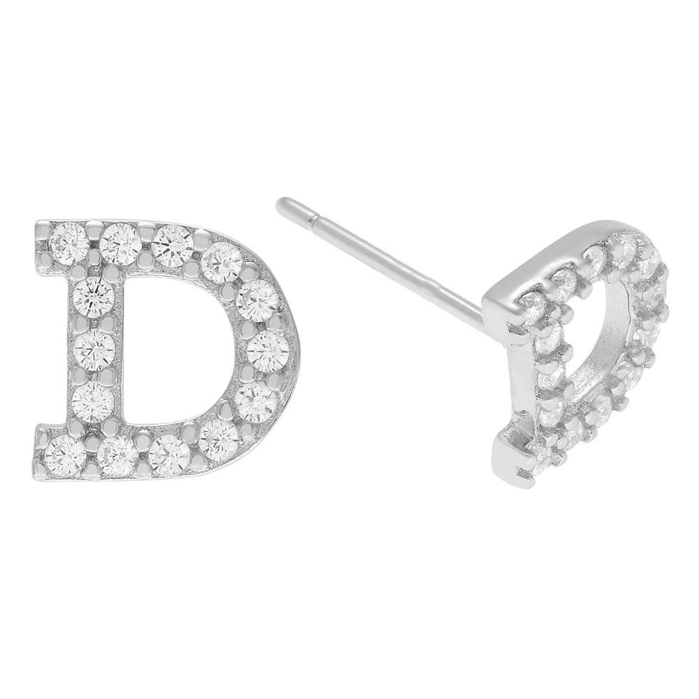 1/5 CT. T.W. Round-cut Cubic Zirconia Initial Stud Pave Set Earrings - Silver, D, Girl's, Silver Letter - D