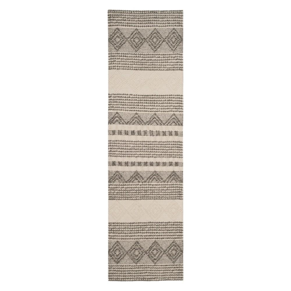 2'3X10' Geometric Woven Runner Gray/Ivory - Safavieh