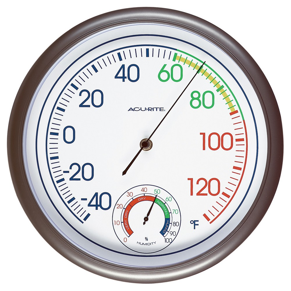 Image of 11.8 Outdoor / Indoor Thermometer with Humidity - Titanium Finish - Acurite, Brown
