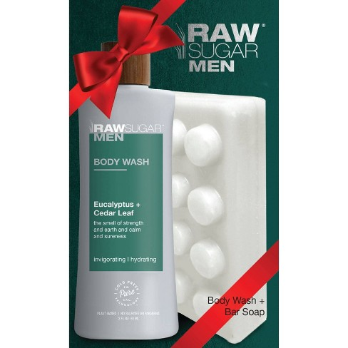 Raw Sugar Men's Body Wash & Bar Soap Set Eucalyptus + Cedar Leaf - 2ct - image 1 of 4