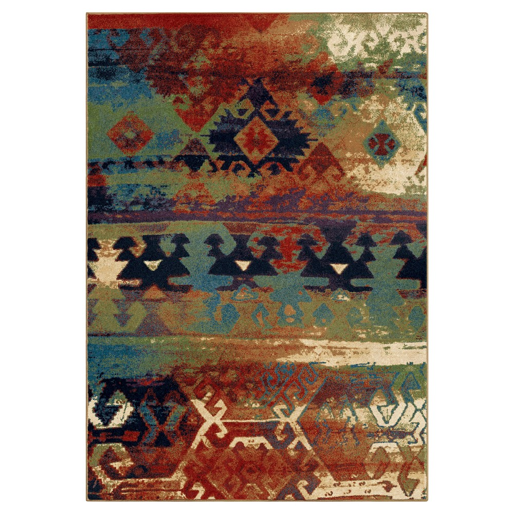 Abstract Woven Area Rug - (7'10