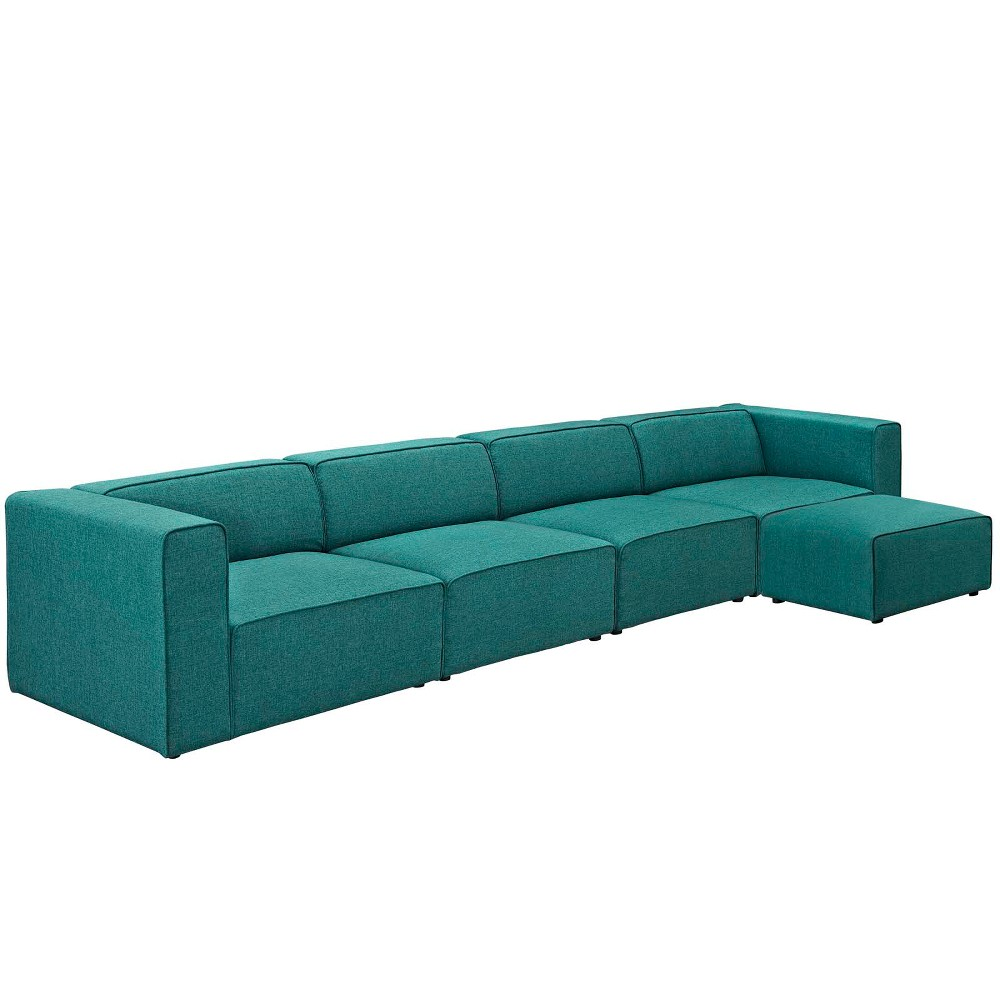 Mingle 5pc Upholstered Fabric Sectional Sofa Set Teal (Blue) - Modway