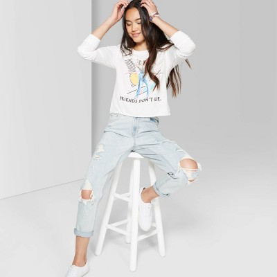 Women's Super-High Rise Distressed Mom Jeans - Wild Fable™ Light Wash