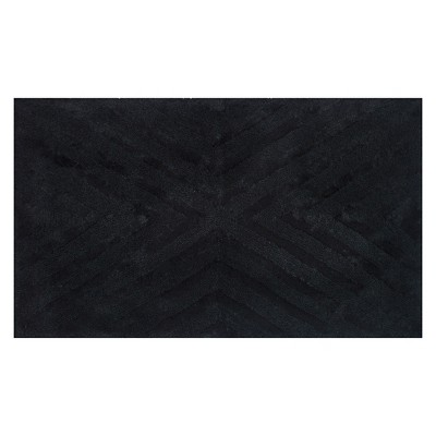 "23""x38"" Textured Stripe Bath Rug Black - Project 62™ + Nate Berkus™"