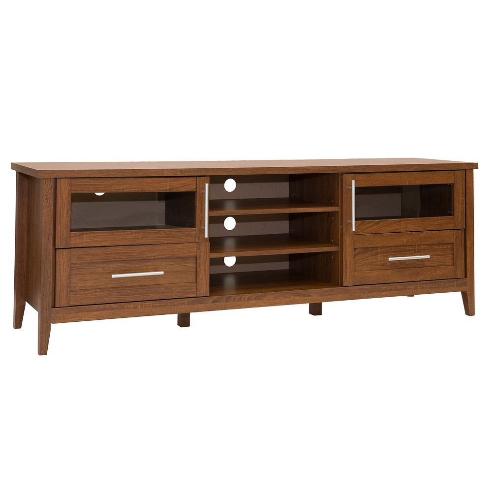 "Image of ""75"""" Modern TV Stand with Storage Brown - Techni Mobili"""