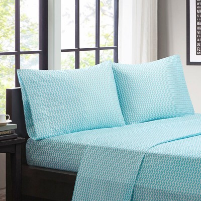 Chevron Microfiber Sheet Set - Aqua (Queen)