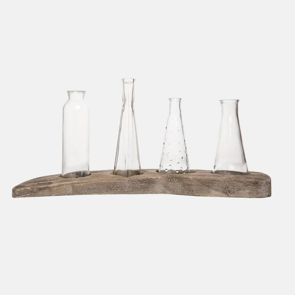 Image of 10 Wood/Glass Bud Vases On Driftwood Clear - Foreside Home & Garden