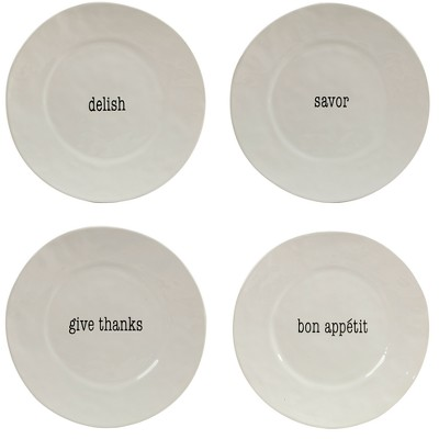 Certified International It's Just Words Ceramic Dinner Plates 11.3  White - Set of 4