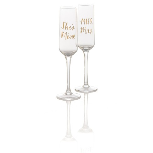 Set Of 2 She'S Mine/Miss Mrs Champagne Flutes  - Shiraleah - image 1 of 1