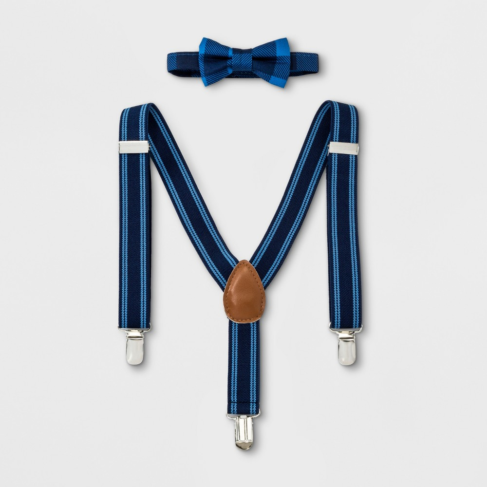 1940s Children's Clothing: Girls, Boys, Baby, Toddler Baby Boys Bowtie and Suspenders Set - Cloud Island Blue Size Newborn $9.99 AT vintagedancer.com