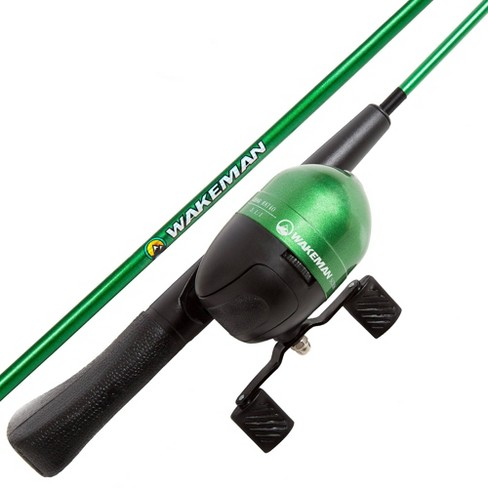 Wakeman Spawn Series Kids' Spincast Combo and Tackle Set - Green - image 1 of 4