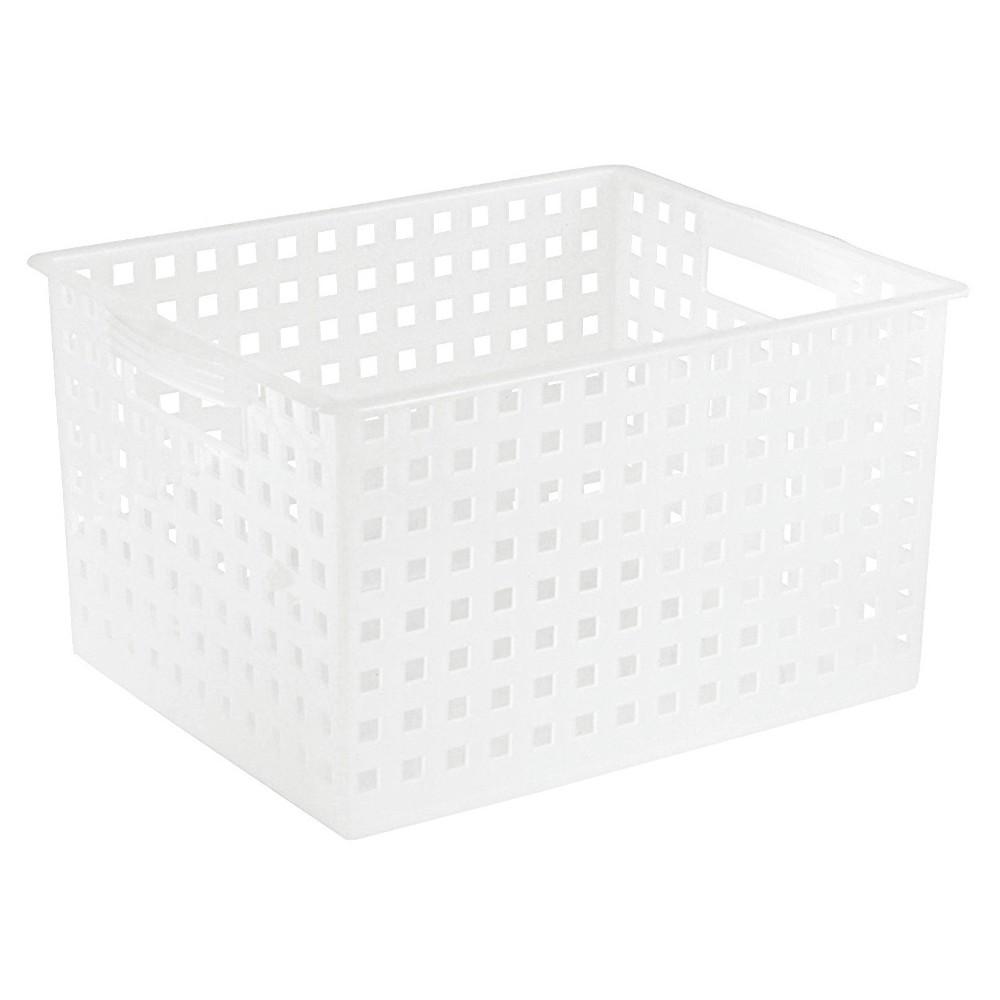 Image of Interdesign Bath & Spa Plastic Storage Basket - Polished Frost (Large), White