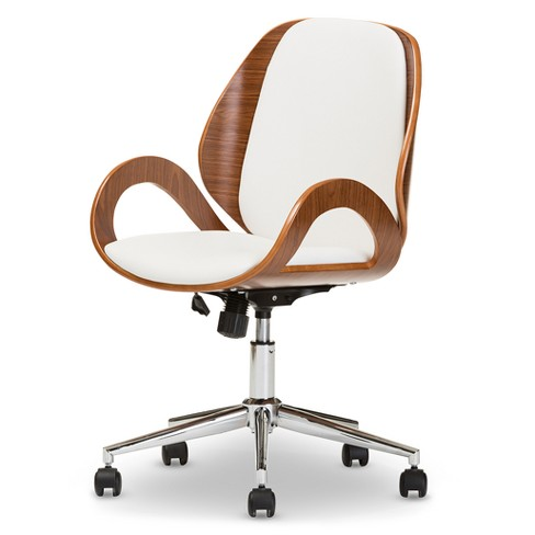 Watson Modern and Contemporary Office Chair - White, Walnut Brown - Baxton Studio - image 1 of 5