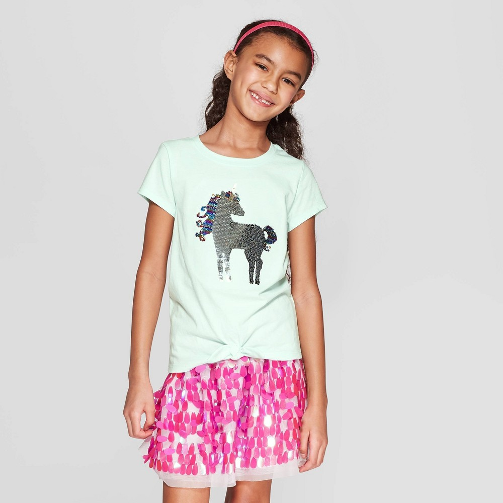 Girls' Short Sleeve Tie Front Unicorn Flip Sequin T-Shirt - Cat & Jack Aqua L, Green