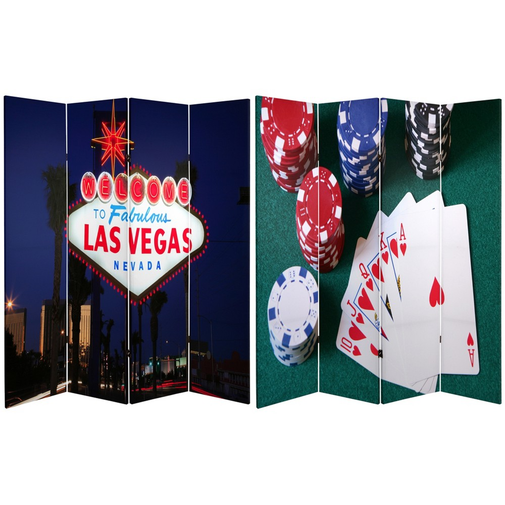 6' Tall Double Sided Las Vegas Poker Canvas Room Divider - Oriental Furniture, Multicolored