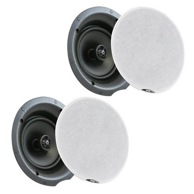 Pyle Audio PDICBT87 8 Inch 400 Watt Bluetooth Flush Mount Ceiling Wall Speaker System with White Metal Grills for Home Theater Sound Audio (2 Pack)