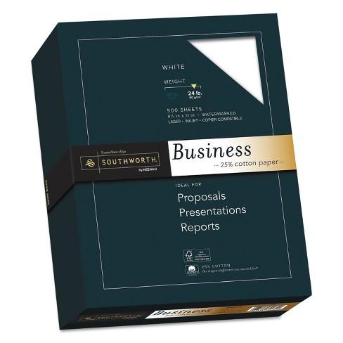 Southworth 25% Cotton Business Paper White 24 lbs. Wove 8-1/2 x 11 500/Box FSC 404C - image 1 of 2