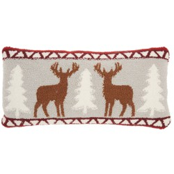 The Holiday Deers Lumbar Throw Pillow Red - Mina Victory