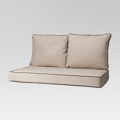 Rolston 3pc Outdoor Replacement Loveseat Sofa Cushion Set Contrast Piping - Haven Way