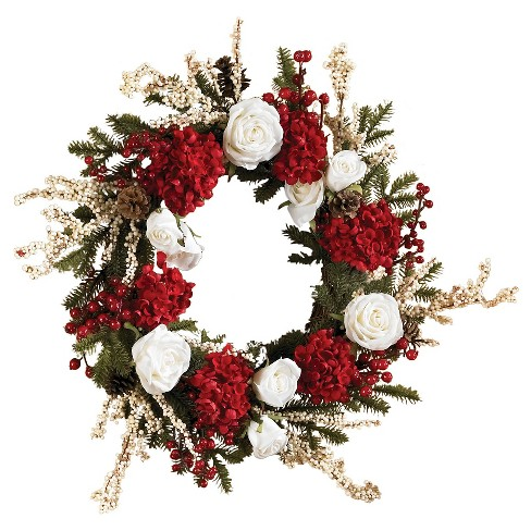 """24"""" Hydrangea with White Roses Wreath - Nearly Natural - image 1 of 2"""