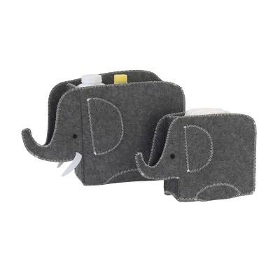 NoJo Little Love Gray Felt Elephant Shaped Nursery Storage Caddy - 2pk