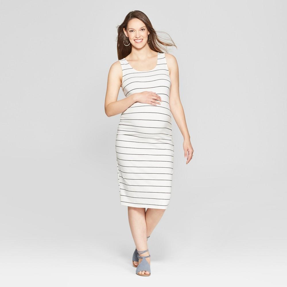 Maternity Striped Shirred Tank Dress - Isabel Maternity by Ingrid & Isabel White S, Women's, White Stripe