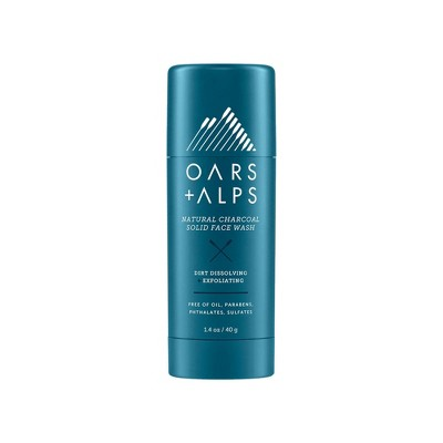 Oars + Alps Men's Natural Daily Exfoliating Power Cleansing Charcoal Face Wash - 1.2oz