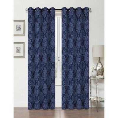 Kate Aurora Living 2 Pack Delaney Room Darkening Damask Print Grommet Curtain