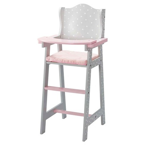 Olivia S Little World Baby Doll Furniture High Chair Gray Polka Dots