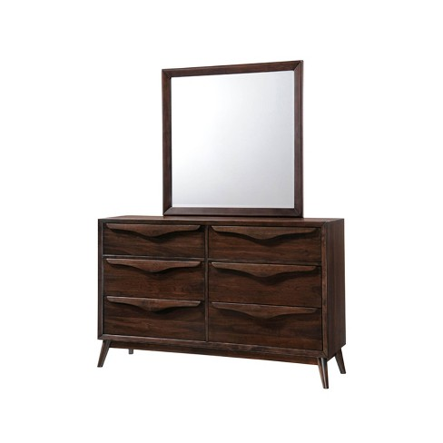 Adelaide 6 Drawer Solid Wood Mid Century Dresser & Mirror Brown - Abbyson Living - image 1 of 4
