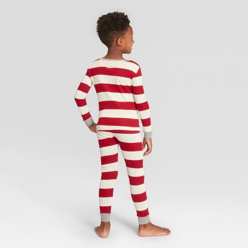 1bcc043932 Burt s Bees Baby Kid s Striped Holiday Rugby Pajama Set - Red XS   Target