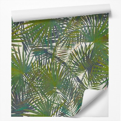Americanflat Peel & Stick Wallpaper Roll -Tropical Palm Leaf Watercolor by DecoWorks