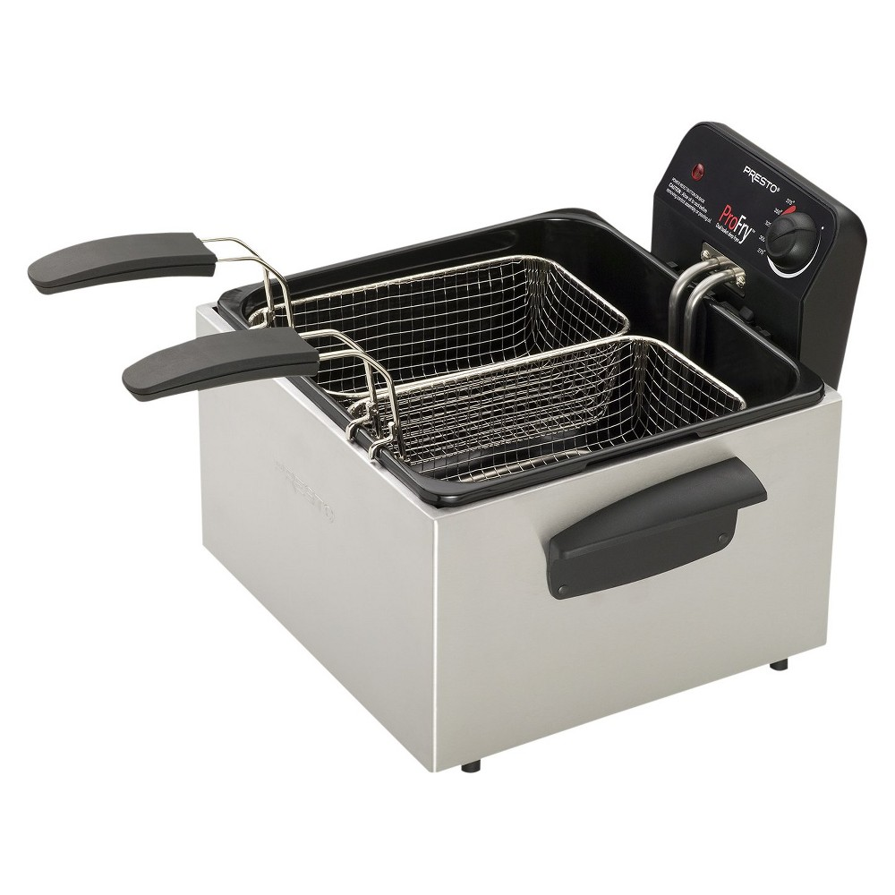 Presto 3qt ProFry Stainless Steel Dual Fryer- 05466 This stainless steel Dual ProFry from Presto is a professional-style deep fryer with 2 baskets and large 12-cup food capacity. Use this multi-purpose appliance as a large-capacity pot for steaming and boiling, as well as for frying. It features a removable liner; a spatter-reducing filter; an adjustable thermostat and temperature control; a detachable power cord; an indicator light and a temperature-ready light.