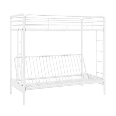 Twin Over Futon Leonora Metal Bunk Bed White - Room & Joy