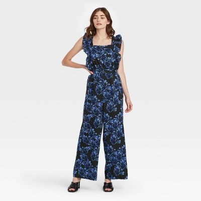 Women's Printed Ruffle Sleeveless Jumpsuit - Who What Wear™ Blue